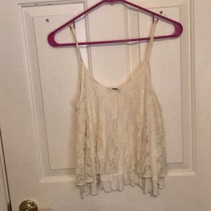 Express Off-White Flowy Layered Tank Top